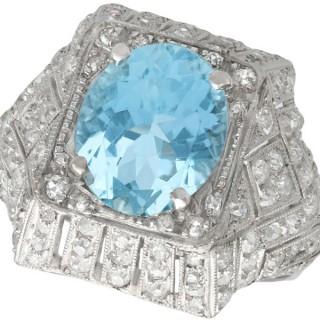 Antique 1930s 4.78 ct Aquamarine and 1.39 ct Diamond, Platinum Dress Ring
