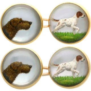 Essex Crystal and 18 ct Yellow Gold Dog Cufflinks - Antique Victorian
