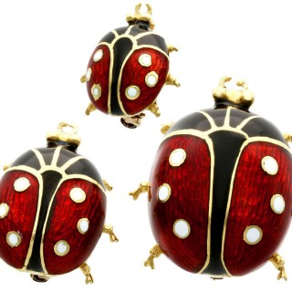 Enamel and 18ct Yellow Gold Ladybird Brooches - Vintage 1980