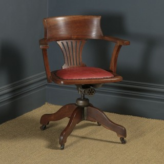 Antique English Edwardian Solid Oak & Red Leather Revolving Office Desk Arm Chair (Circa 1910 - 1920)