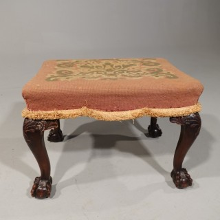 A Well Carved Early 20th Century Mahogany Stool of Classical Chippendale Design