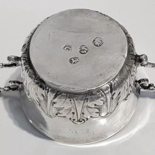 Charles II Antique Silver Porringer