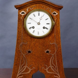 Art Nouveau Oak cased Mantel Clock with Copper inlay