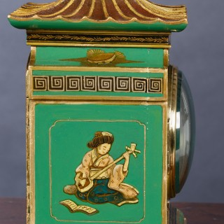 Edwardian Chinoiserie Decorated Mantel Clock by Mappin & Webb
