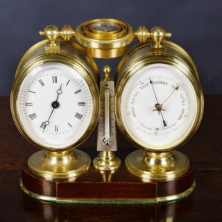 Victorian Clock and Barometer Compendium Set with Thermometer and Compass