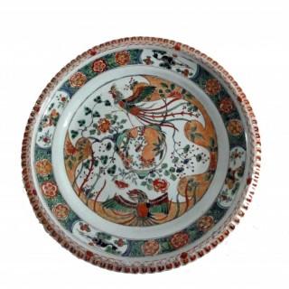 Kangxi Famille Verte Deep Porcelain Charger