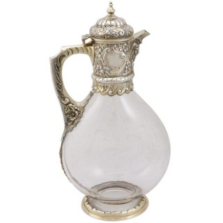 Glass and Sterling Silver Gilt Mounted Claret Jug - Antique Victorian (1890)