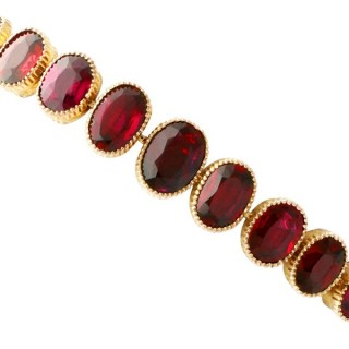12.84 ct Garnet and 9 ct Yellow Gold Bracelet - Antique Circa 1920