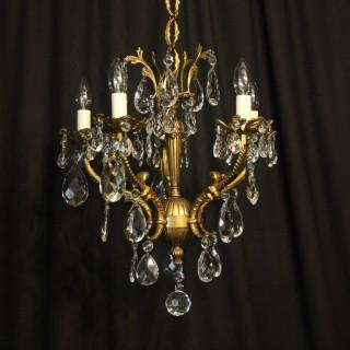 Italian Bronze & Crystal 5 Light Chandelier