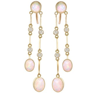 2.71 ct Opal and 0.32 ct Diamond, 15 ct Yellow Gold Drop Earrings - Antique Circa 1910