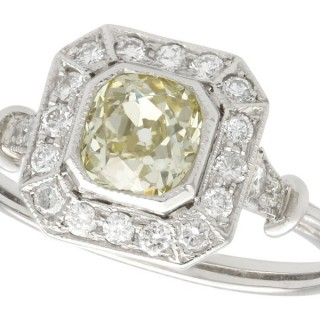1.01 ct Diamond and Platinum Dress Ring - Antique and Contemporary