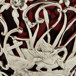 Antique Edwardian Sterling Silver Basket with Cranberry Glass Liner 1906
