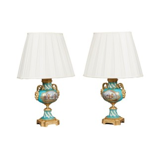 Pair of French Blue Sevres Porcelain Lamps
