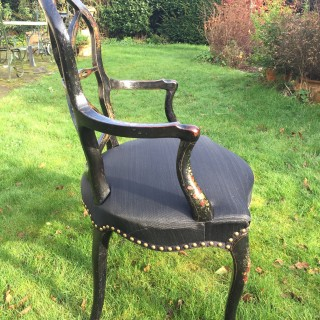 Late 18th Century French Painted Open Armchair in the Hepplewhite Manner