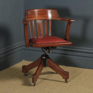 Antique English Edwardian Solid Mahogany & Red Leather Revolving Office Desk Arm Chair (Circa 1910 - 1920)