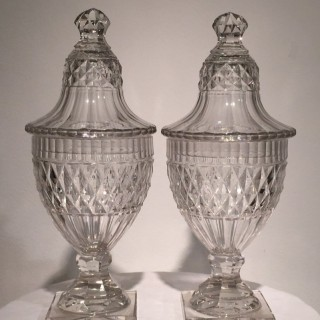 Pair of 18th Century Cut Crystal Conserve or Sweetmeat Jars and Covers