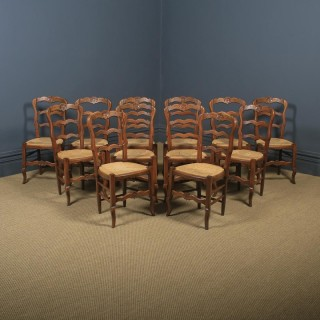 Antique French Set of 12 Twelve Louis XV Style Oak Ladder Back Kitchen Dining Chairs (Circa 1920)