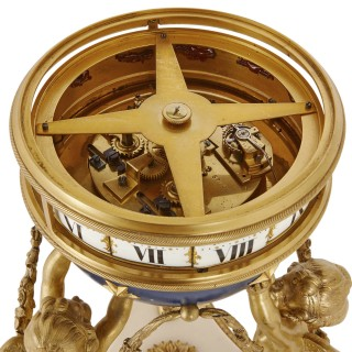 French ormolu, marble and tole clock with turning dial, in the manner of Francois Vion