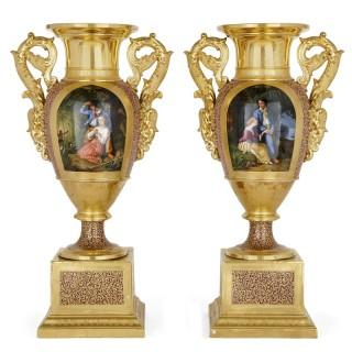 Pair of large Gille Jeune Paris porcelain vases, with scenes from Paul et Virginie after Heinrich-Frédéric Schopin