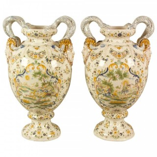 Pair of 19th Century French Moustiers Style Faience Mythological Baluster Vases