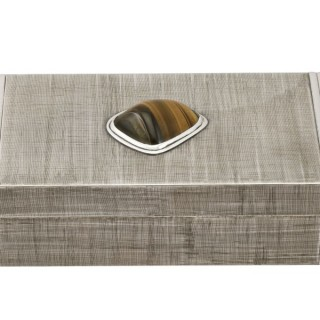 Italian Silver and Tiger's Eye Quartz Box - Vintage Circa 1970