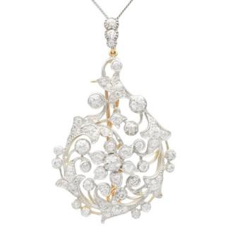 5.85ct Diamond, 12ct Yellow Gold Pendant / Brooch - Antique Circa 1890