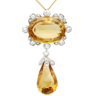 22.91ct Citrine and 1.84ct Diamond, 12ct Yellow Gold Silver Set Pendant / Brooch - Antique Circa 1880