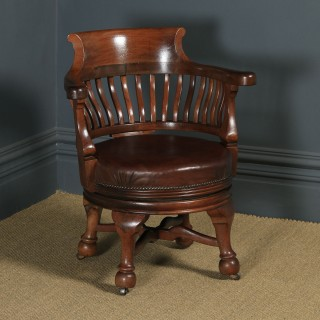 Antique English Victorian Mahogany & Brown Leather Revolving Office Desk Arm Chair (Circa 1880)