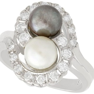 Cultured Pearl and 0.95 ct Diamond, 14 ct White Gold Dress Ring - Vintage Circa 1960