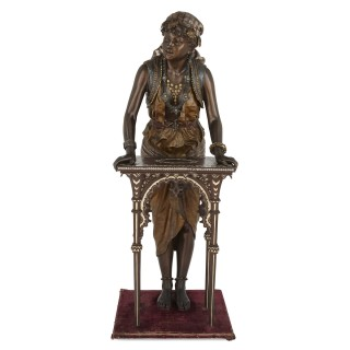 Monumental French sculpture of a female figure with table by Louis Hottot