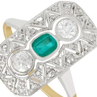 0.37 ct Emerald & 0.78 ct Diamond, 14 ct Yellow Gold Ring - Art Deco - Antique