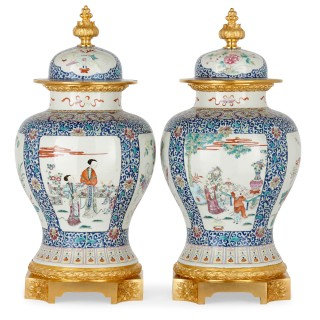 Two large antique Canton porcelain and ormolu vases