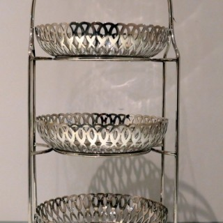 Early 20th Century Antique Victorian Silverplated Three Tier Cake Stand Circa 1900
