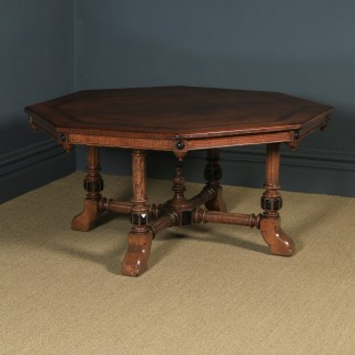 Antique English Victorian Aesthetic Ash Inlaid & Carved Octagonal Library / Dining Table (Circa 1880)