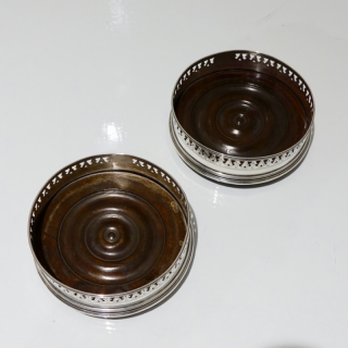 George III Pair Sterling Silver Wine Coasters London 1791 Joseph Scammell