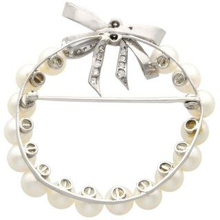 Pearl and 0.82ct Diamond and 14 ct White Gold Brooch - Vintage Circa 1950
