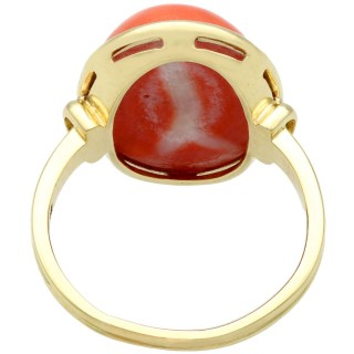 13.20 ct Coral and 14 ct Yellow Gold Ring - Vintage Circa 1950