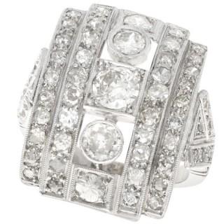 2.66 ct Diamond and Platinum Dress Ring - Art Deco - Vintage Circa 1940