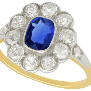 1.28 ct Sapphire and 1.65 ct Diamond, 14 ct Yellow Gold Cluster Ring - Antique Hungarian Circa 1890