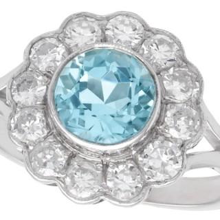 1.34 ct Aquamarine and 0.96ct Diamond, 14 ct White Gold Cluster Ring - Vintage Circa 1950
