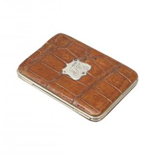 Vintage Leather Wallet, Crocodile, Silver Mounts