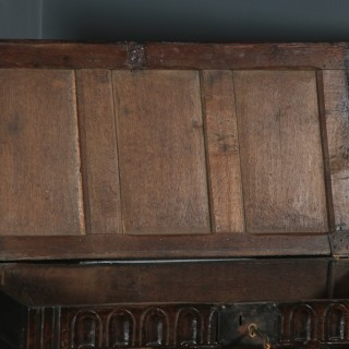 Antique English Charles II Oak Carved Triple Panel Coffer Chest Blanket Box (Circa 1670)