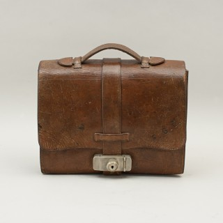 Brown Leather Expandable Briefcase