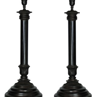 A PAIR OF ENGLISH BRONZE NEO-CLASSICAL LAMPS