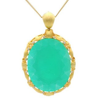 51.69 ct Chrysoprase and Diamond, 15 ct Yellow Gold Pendant - Antique Circa 1900