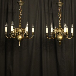 English Pair of 6 Light Antique Chandeliers