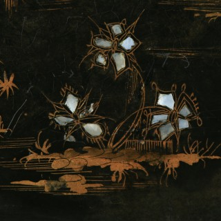 Antique English Set of 3 Three Victorian Ebonised Chinoiserie Papier Mâché Butlers Drinks Trays (Circa 1840)