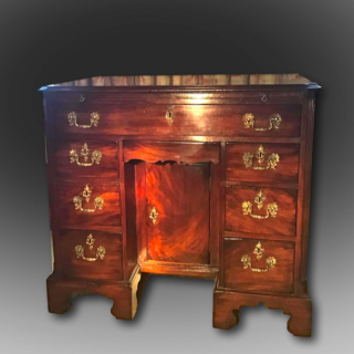 George III Knee Hole desk in solid figured mahogany