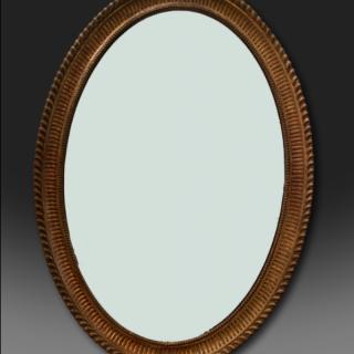 George III oval Adam giltwood mirror with original gilding