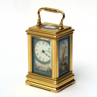 Miniature porcelain carriage clock, Drocourt